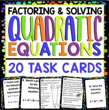 QUADRATIC EQUATIONS TASK CARDS
