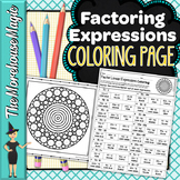 Factoring Linear Expressions Math Color By Number or Quiz