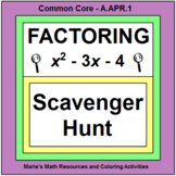 FACTORING POLYNOMIALS:  SCAVENGER HUNT (TWO SETS OF 20 PROBLEMS)