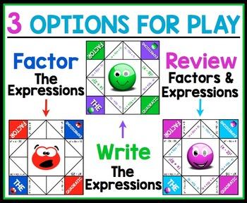 FACTORING QUADRATIC EXPRESSIONS ACTIVITY:  COOTIE CATCHERS