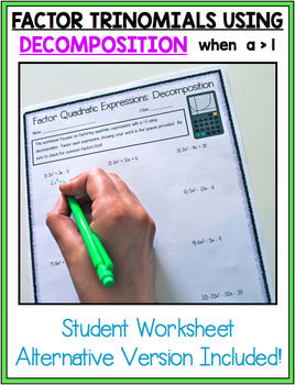 FACTORING QUADRATIC EXPRESSIONS SCAVENGER HUNT