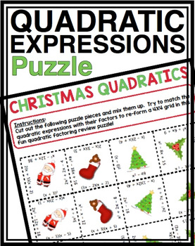 FACTORING QUADRATICS CHRISTMAS ACTIVITY
