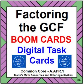 "FACTORING THE GCF:  BOOM ""DIGITAL"" TASK CARDS (20 TASK CARDS)"