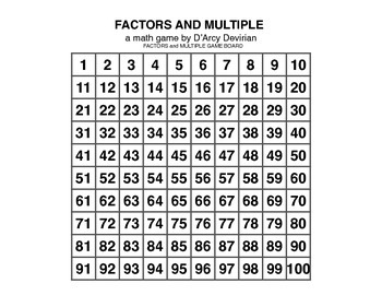 FACTORS AND MULTIPLES GAMES