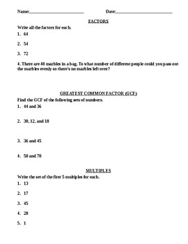 FACTORS AND MULTIPLES WORKSHEET, GCF AND LCM ACTIVITIES, LCM ...