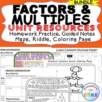FACTORS & MULTIPLES  Bundle - Doodle Notes, HW Practice, Puzzle, Coloring Page