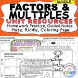 FACTORS & MULTIPLES  Bundle - Guided Notes, HW Practice, Puzzle, Coloring Page