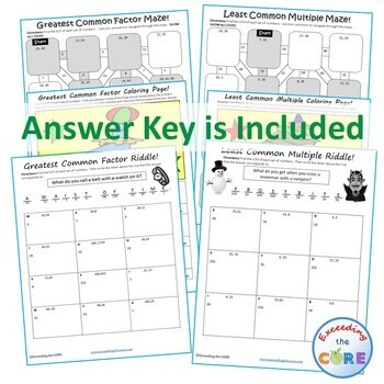 FACTORS & MULTIPLES GCF & LCM Mazes, Riddles & Color by Number (Fun Activities)