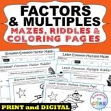 FACTORS & MULTIPLES GCF LCM Mazes, Riddle Color by Number Math