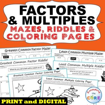 FACTORS & MULTIPLES GCF & LCM Mazes, Riddles & Coloring Pa
