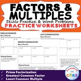 FACTORS & MULTIPLES Homework Practice Worksheets - Skills