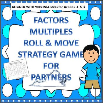 FACTORS & MULTIPLES ROLL AND MOVE STRATEGY GAME VIRGINIA SOL