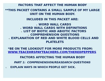 FACTORS AFFECTING THE HUMAN BODY