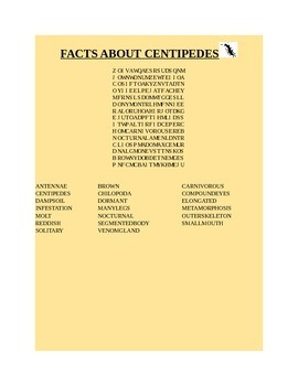 FACTS ABOUT CENTIPEDES WORD SEARCH