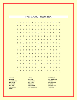 FACTS ABOUT COLOMBIA WORD SEARCH