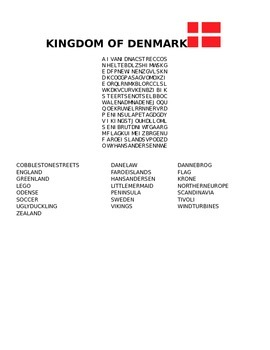 FACTS ABOUT DENMARK WORD SEARCH