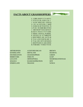 FACTS ABOUT GRASSHOPPERS WORD SEARCH