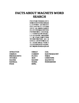 FACTS ABOUT MAGNETS WORD SEARCH