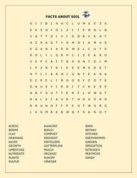 FACTS ABOUT SOIL WORD SEARCH