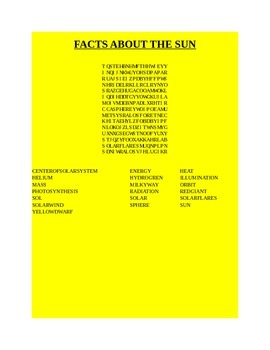 FACTS ABOUT THE SUN WORD SEARCH