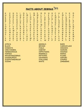 FACTS ABOUT ZEBRAS WORD SEARCH