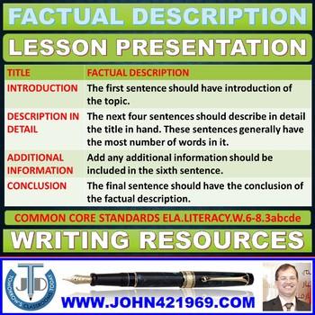 FACTUAL DESCRIPTION LESSON PRESENTATION