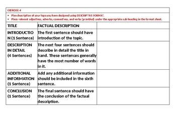 FACTUAL DESCRIPTION TASK CARDS