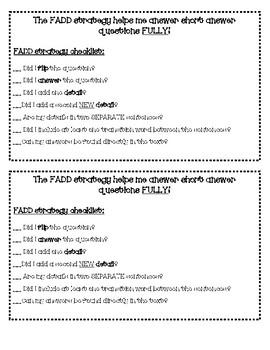 FADD Short Response Checklist