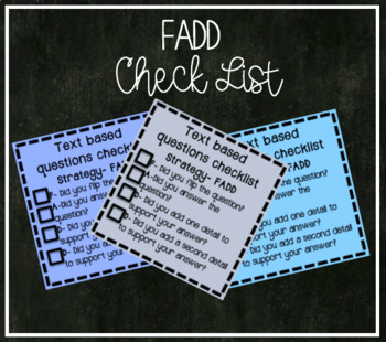 FADD Short Response Checklist (Least amount of supports)