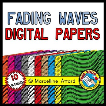 FADING WAVES DIGITAL PAPER BACKGROUNDS RAINBOW (SUMMER CLIPART)