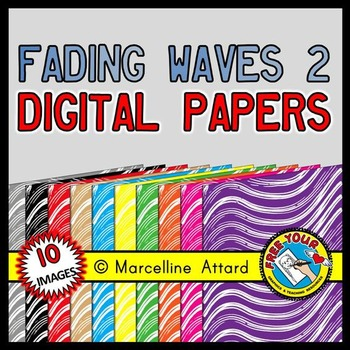 FADING WAVES DIGITAL PAPER BACKGROUND TEXTURED IN RAINBOW COLORS (SUMMER CLIPART