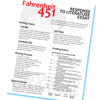 Fahrenheit  Essay Prompts  Grading Rubrics By Created For Learning Fahrenheit  Essay Prompts  Grading Rubrics