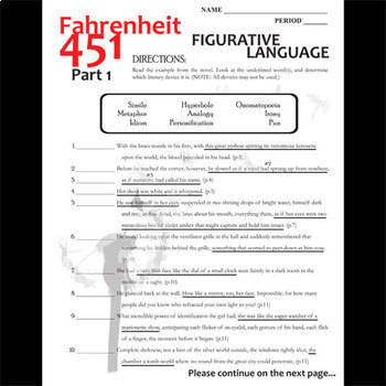 Fahrenheit 451 Figurative Language Analyzer Part 1 By Created For
