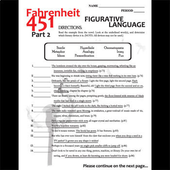 fahrenheit 451 figurative language analyzer part 2 by created for learning. Black Bedroom Furniture Sets. Home Design Ideas