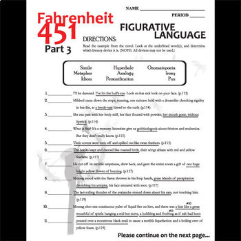 Fahrenheit 451 Figurative Language Analyzer Part 3 By Created For