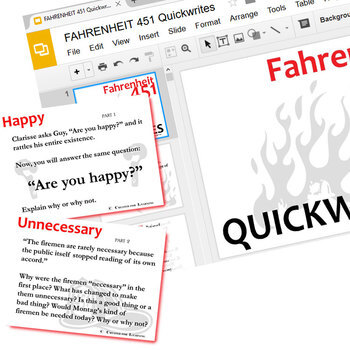 FAHRENHEIT 451 Journal - Quickwrite Writing Prompts (Created for Digital)