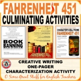 FAHRENHEIT 451 Three Creative Culminating Activities Bundle