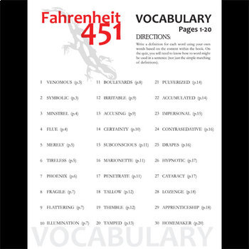 fahrenheit 451 vocabulary list and quiz 30 words pgs 1. Black Bedroom Furniture Sets. Home Design Ideas