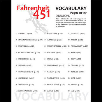 FAHRENHEIT 451 Vocabulary List and Quiz (30 words, pgs 111-137)