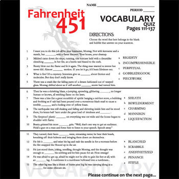 fahrenheit 451 vocabulary list and quiz 30 words pgs 111 137 tpt. Black Bedroom Furniture Sets. Home Design Ideas