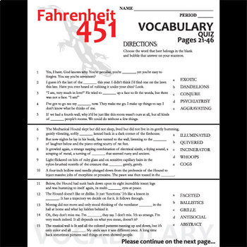 FAHRENHEIT 451 Vocabulary List And Quiz 30 Words Pgs 21 46