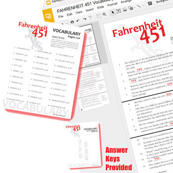 FAHRENHEIT 451 Vocabulary List and Quiz Assessment (Created for Digital)