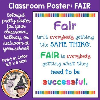 FAIR isn't everybody getting the SAME thing... Motivational Classroom Poster