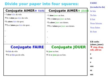 FAIRE and JOUER Simple sentence writing practice (positive and negative)