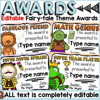 FAIRYTALE CLASS DECOR: EDITABLE AWARDS