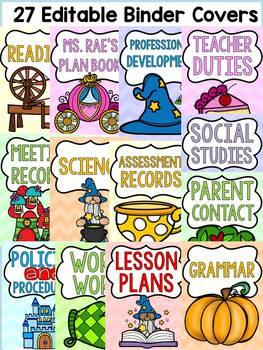 FAIRYTALE CLASS DECOR: EDITABLE BINDER COVERS AND SPINES: TEACHER