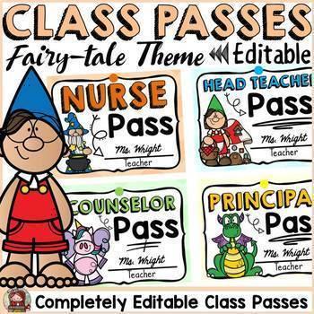 FAIRYTALE CLASS DECOR: EDITABLE CLASSROOM PASSES