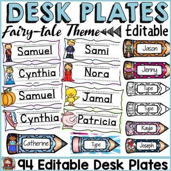 FAIRYTALE CLASS DECOR: EDITABLE DESK/NAME PLATES