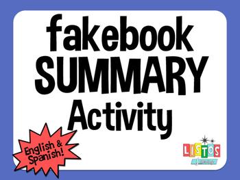 FAKEBOOK SUMMARY Activity - English & Spanish