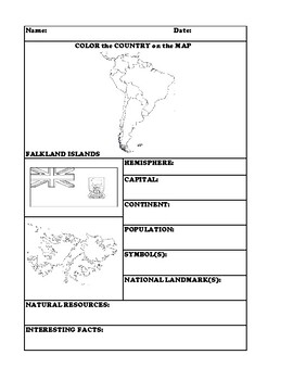 FALKLAND ISLANDS COUNTRY RESEARCH WORKSHEET